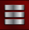 steel plates on red metal perforated background vector image vector image