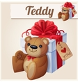 Teddy bear and the big gift box with red bow vector image vector image