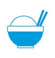 traditional bowl of rice with chopsticks vector image vector image