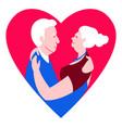 two loving seniors man woman hugging dancing face vector image