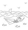 woman swimming in the sea surrounded by fish vector image vector image