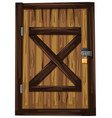 wooden door with one padlock vector image vector image