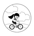 young girl in bicycle isolated icon vector image vector image