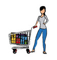 young woman pushing supermarket shopping cart full vector image vector image