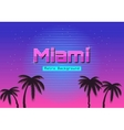 80s Retro Neon gradient background Palms and sun vector image