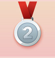 silver medal for second prize vector image