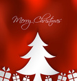 Merry Christmas card with tree and box gifts on vector image