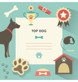 Retro dog template with profile canine full collar vector image