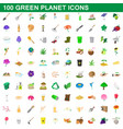 100 green planet icons set cartoon style vector image vector image