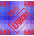 404 red seal rough letters isolated on lowpoly vector image