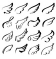 abstract flying dove sketch set icon collection vector image