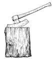 artistic drawing of medieval executioner axe or vector image