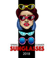 banner with fashion girl and sunglasses vector image