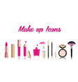 beautiful cosmetic icons set in gold lipstick vector image