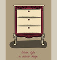 bedside table in purple and beige colors italian vector image vector image