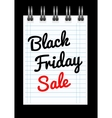 Black friday sale background with notepad vector image vector image