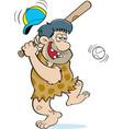 cartoon caveman hitting a baseball vector image vector image