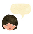 cartoon happy female face with speech bubble vector image vector image