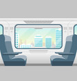 cartoon train inside interior and window view vector image vector image
