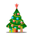 christmas tree with gifts merry christmas vector image vector image