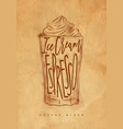 coffee glace cup craft vector image vector image