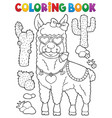 coloring book llama with love glasses 1 vector image vector image