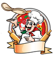 cook throws pizza vector image vector image