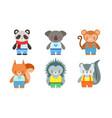 cute baanimals set panda koala monkey fox vector image vector image