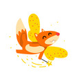 cute winged squirrel flying with a magic wand vector image vector image