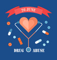 drug abuse day 26 june banner isolated on blue vector image