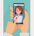 facial recognition concept face id two female vector image vector image