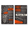 fast food pizza and hot dog menu chalkboard poster vector image vector image