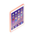 flat isometric pink tablet pc computer with ui vector image