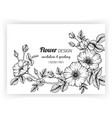 greeting card with dog rose flower and leaf hand vector image vector image