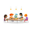 group of school children sitting around circular vector image