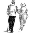 hand drawing a couple elderly spouses vector image vector image