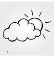 Hand drawn wheather sun with cloud vector image vector image