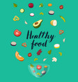 healthy food concept with pieces of vegetable vector image vector image