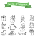 Icons holiday christmas set collection vector image vector image