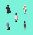 Isometric human set of doctor hostess seaman and