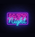 jazz night neon sign jazz music design vector image vector image