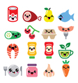 Kawaii cute food characters - meat vegetables vector image vector image