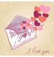 Love letter Valentine retro card vector image vector image