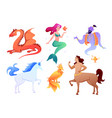 mythical fantasy creatures set cartoon mythology vector image vector image