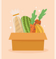 online market bread fruits and vegetable in vector image