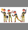 paintball player shooting running vector image vector image