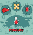 pharmacy flat concept icons vector image vector image