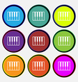 piano key icon sign Nine multi colored round vector image vector image