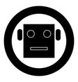 robot head icon black color in circle vector image vector image