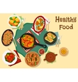 Savory dishes with fish and korean grilled meat vector image vector image